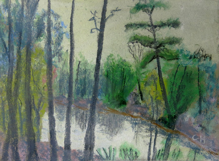 Charles W. Hutson,  Pines at the Pond,  c. 1932, pastel on paper, 8.25h x 11.25w in.