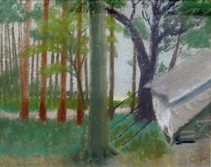 Charles W. Hutson,  Camping at the Bay,  c. 1930, pastel on paper, 8.75h x 10.5w in.
