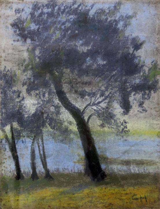 Charles W. Hutson,  Oak at Water's Edge,  c. 1935, pastel on paper, 13.75h x 10.5w in.