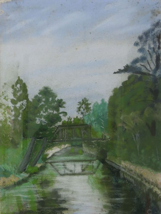 Charles W. Hutson,  Bridge Near Logtown,  c. 1930-1935, pastel on paper, 13.75h x 10.5w in.