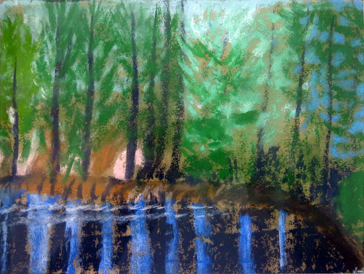 Charles W. Hutson,  Reflecting Pines,  c. 1910-1920, pastel on paper, 7.75h x 10w in.
