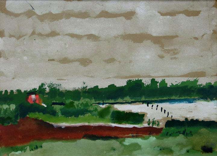 Charles W. Hutson,  Weather Coming In,  c. 1930, watercolor on paper, 8.5h x 11.5w in.