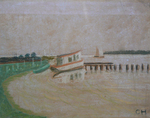 Charles W. Hutson,  Point Cadet,  c. 1910, pastel on paper, 8.5h x 10.5w in.