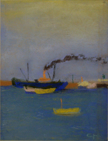 Charles W. Hutson,  Ships on the Mississippi,  c. 1910, pastel on paper, 12.25h x 9.25w in.