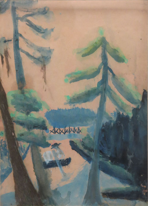 Charles W. Hutson,  Canoe in City Park,  c. 1910-1920, watercolor on paper, 13.5h x 9.5w in.