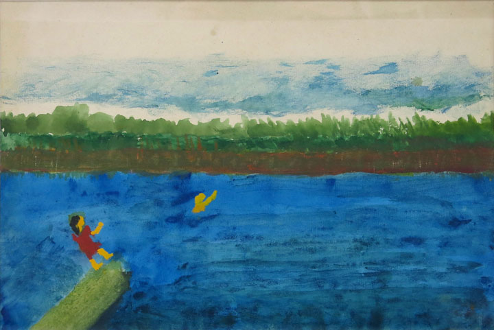 Charles W. Hutson,  Children Swimming,  c. 1910- 1920, watercolor on paper, 9.5h x 13.5w in.