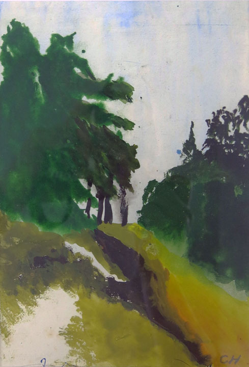 Charles W. Hutson,  Road near the Gulf,  c. 1925-1935, watercolor on paper, 9h x 6w in.