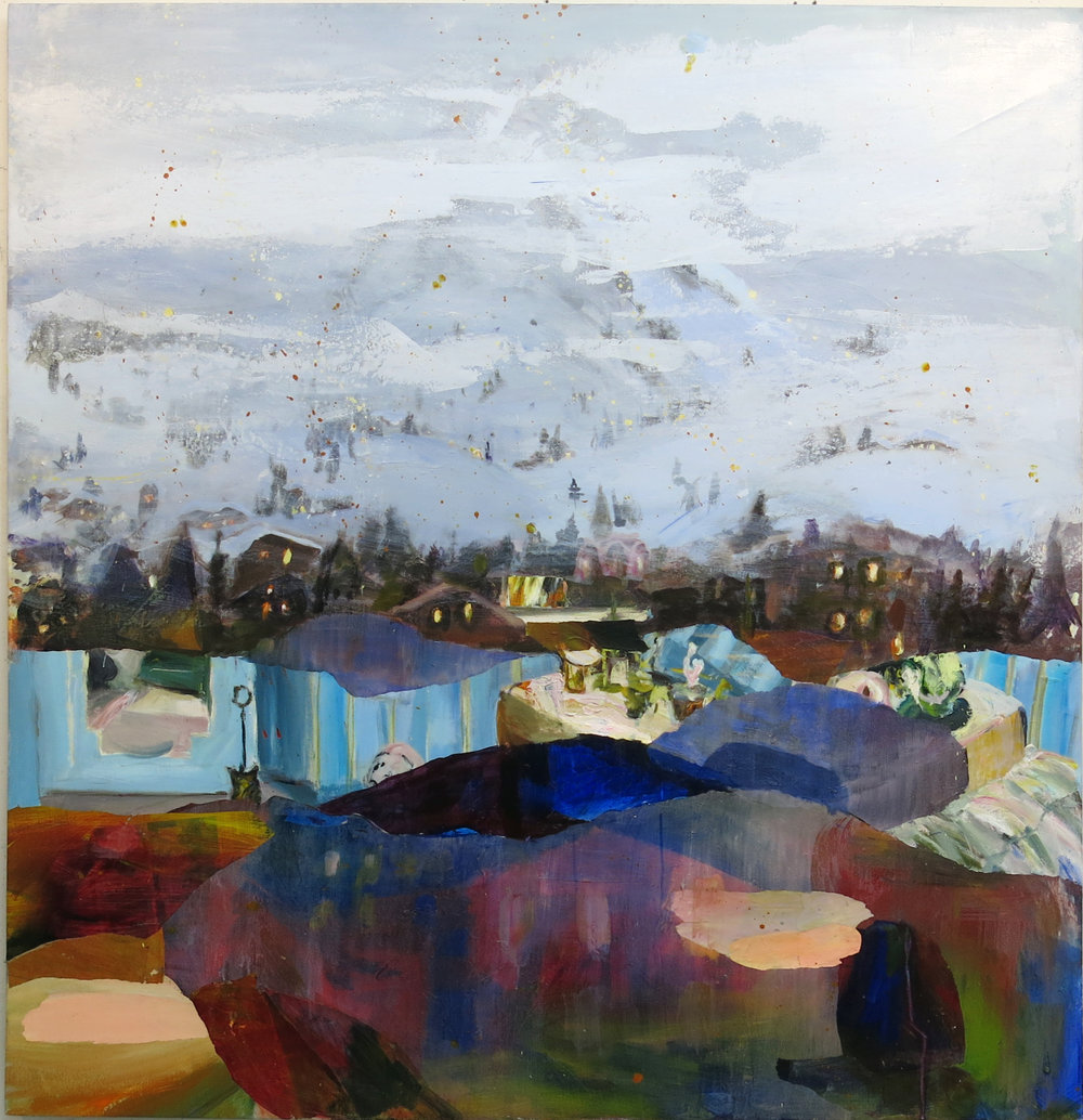Judith Simonian,  Winter Resort,  2015, acrylic on canvas, 60h x 58w in.