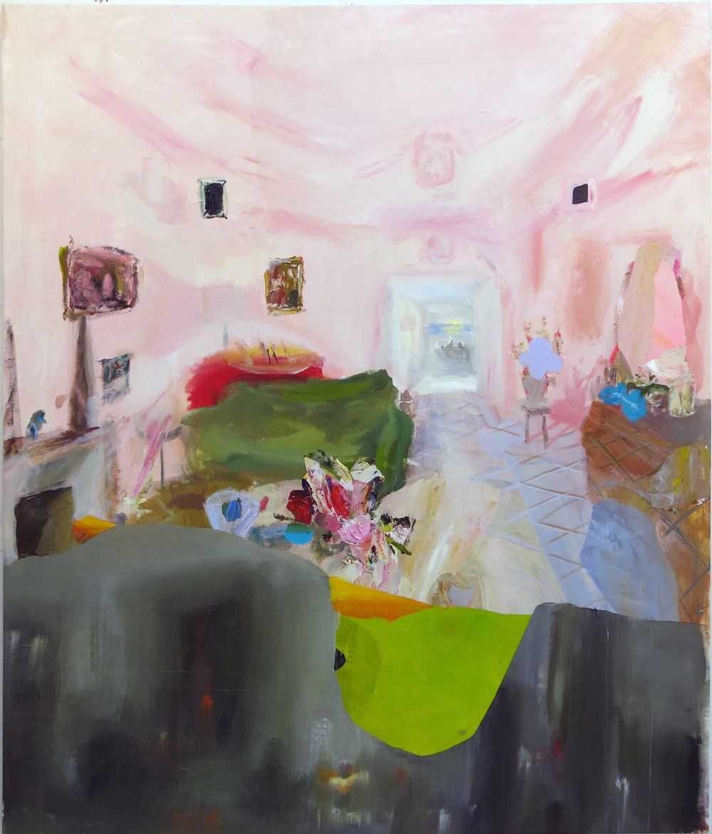 Judith Simonian,  Fleshy Pink Room,  2014, acrylic on canvas, 72h x 60.25w in.