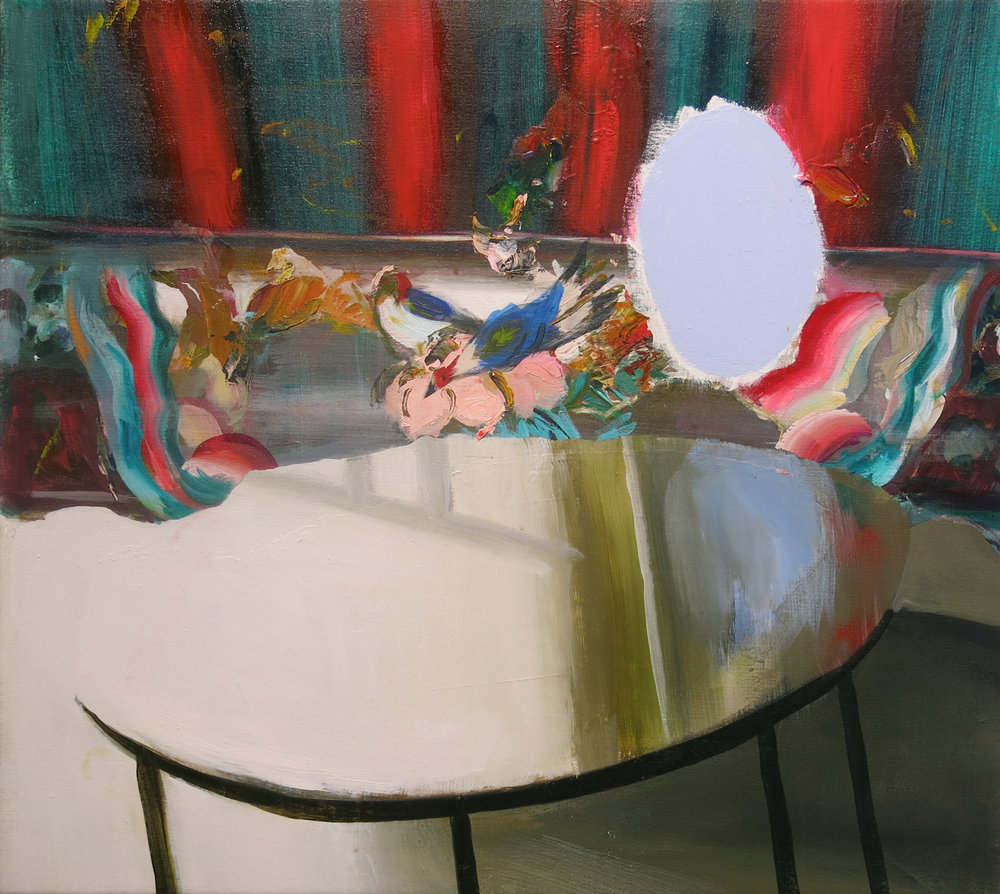 Judith Simonian,  Blue Mirror Table,  2014, acrylic on canvas, 28h x 30.75w in.
