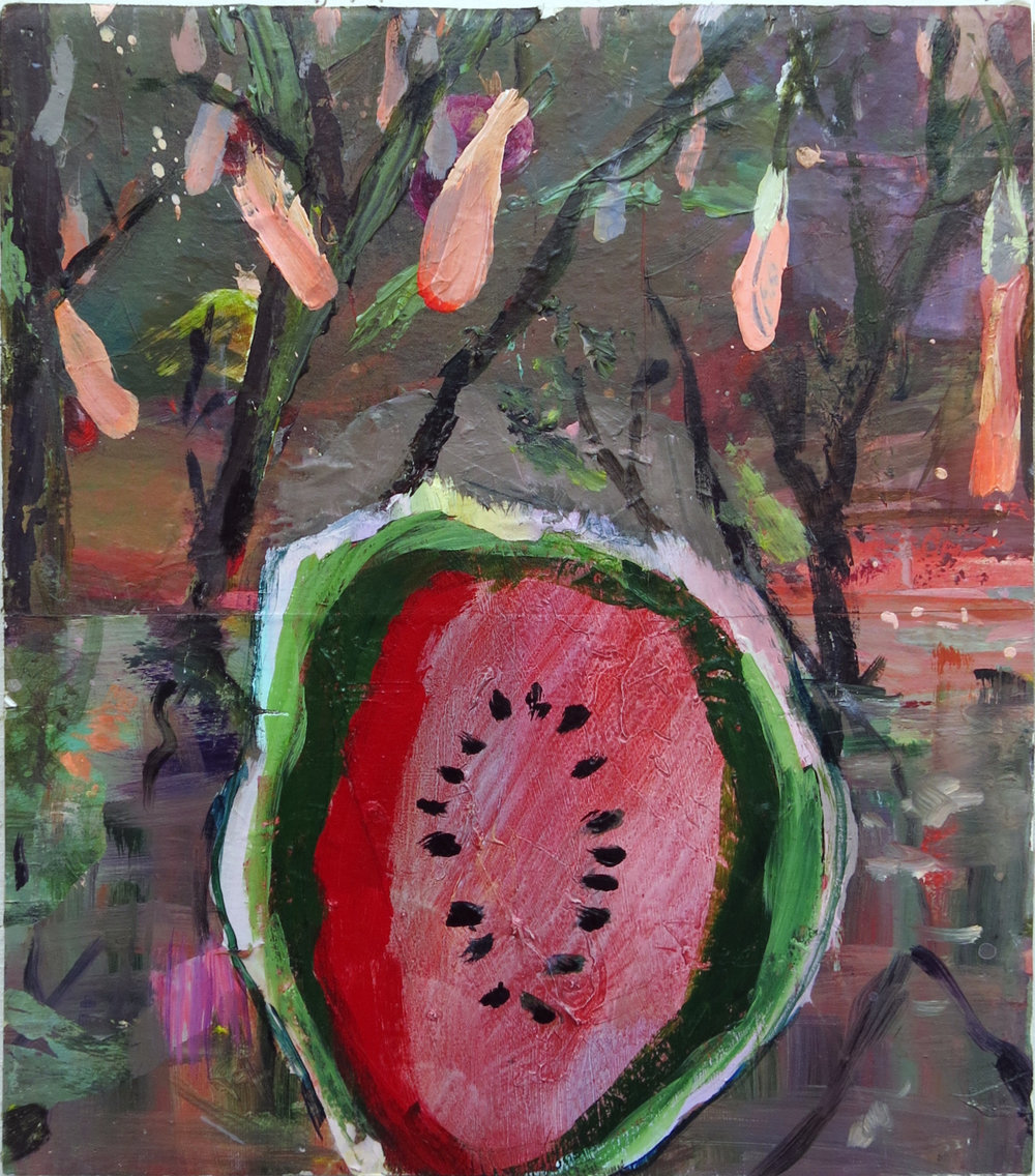 Judith Simonian,  Bitter Fruit,  2013, acrylic on canvas, 14h x 12w in.