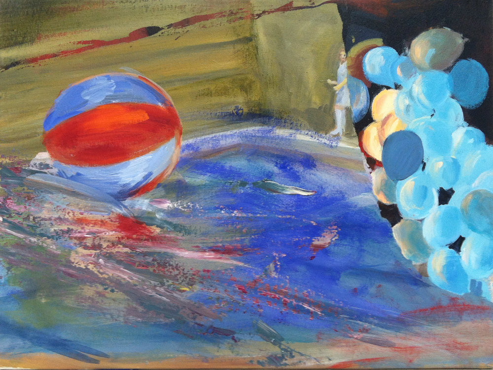 Judith Simonian,  Beach Ball in Pool,  2015, acrylic on canvas, 18h x 24w in.