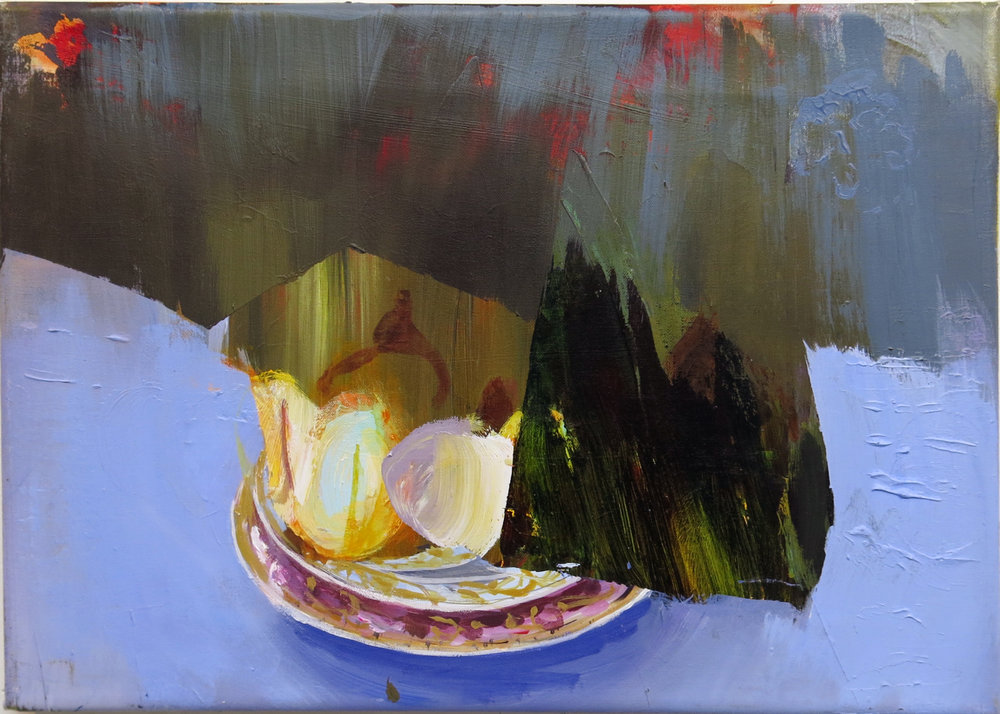 Judith Simonian,  Fruit On Blue Table,  2013, acrylic on canvas, 11h x 15.75w in.