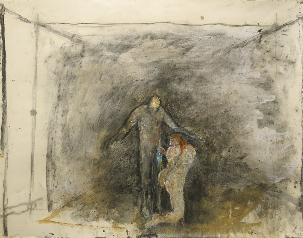 June Leaf,  Woman Washing the Man,  2013-2014, mixed media on paper, 22h x 28.25w in.