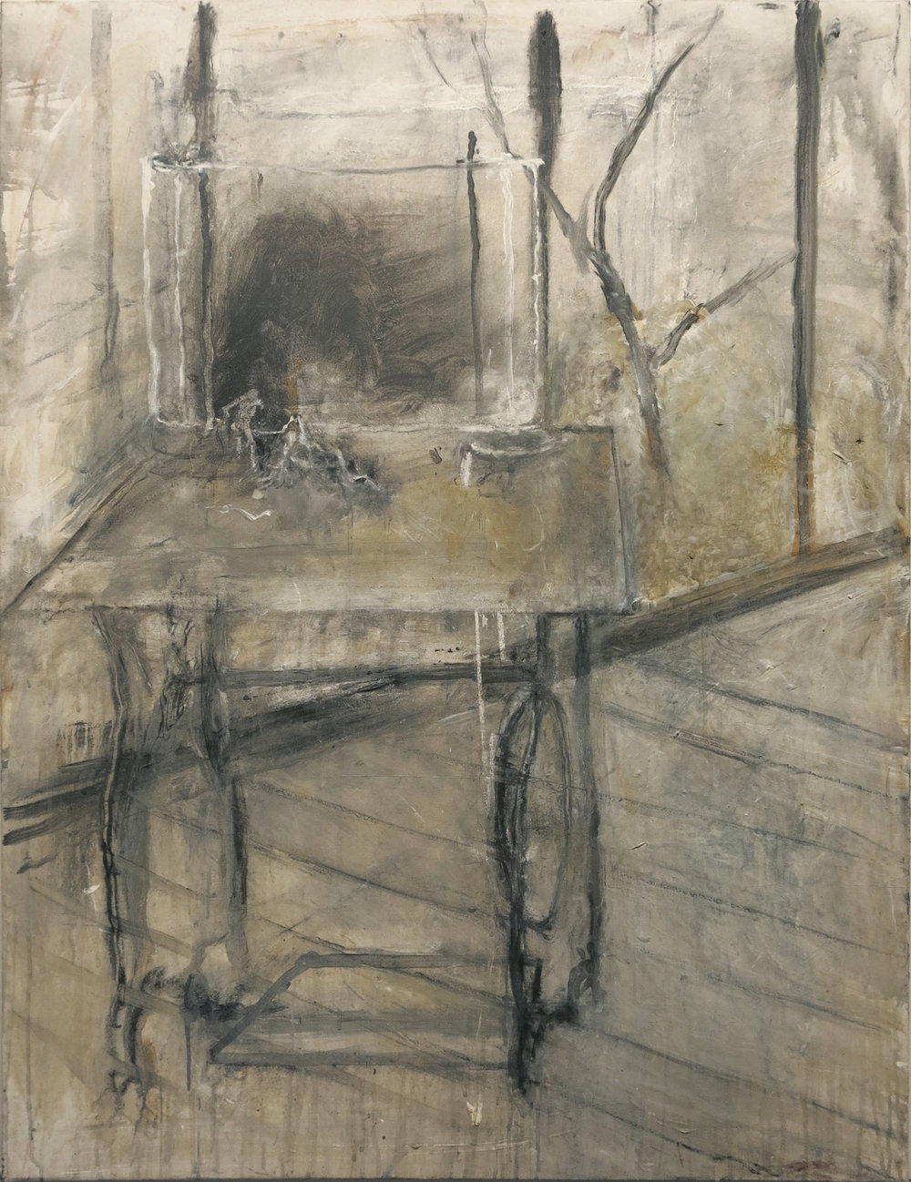 June Leaf,  Treadle Machine with Tree,  2013-2014, acrylic and chalk on canvas, 28h x 36w in.