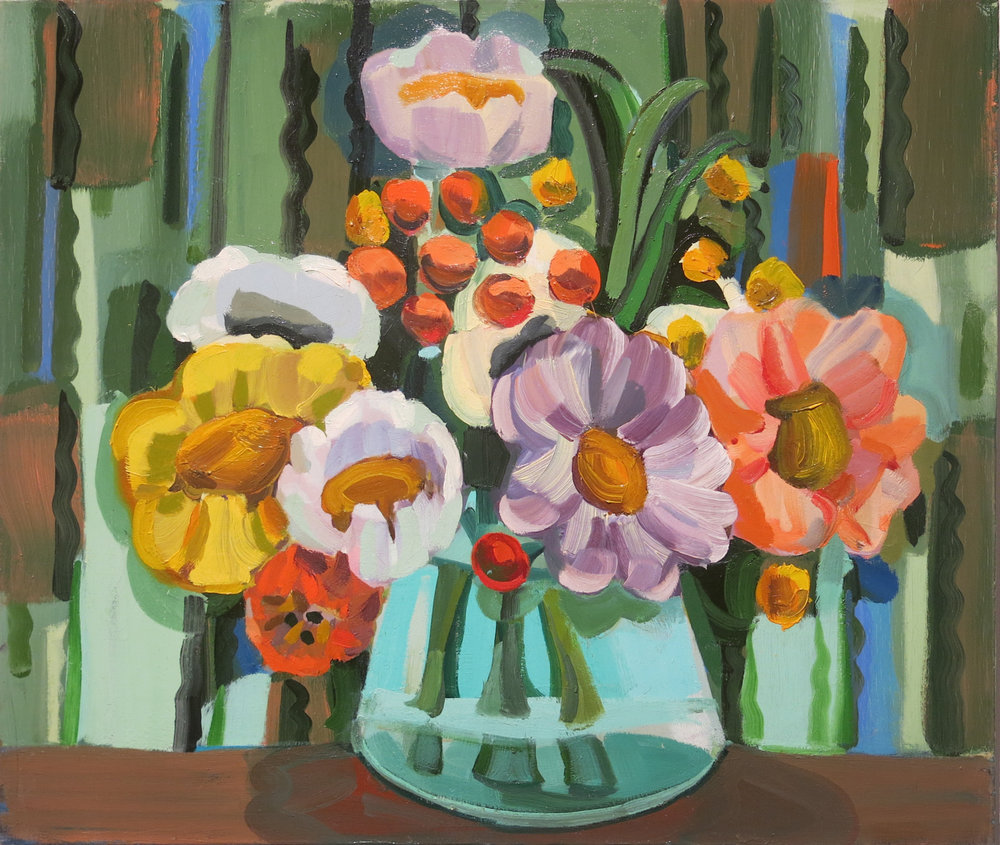 Judith Linhares,  Peonies,  2009, oil on linen, 22h x 26w in.