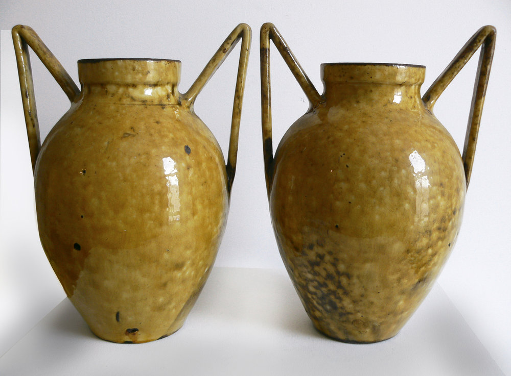C.H. Brannum, Ltd., Devon, England,  Pair of 'Barumware' Vases,  1900, glazed ceramic, 12h x 9w in.