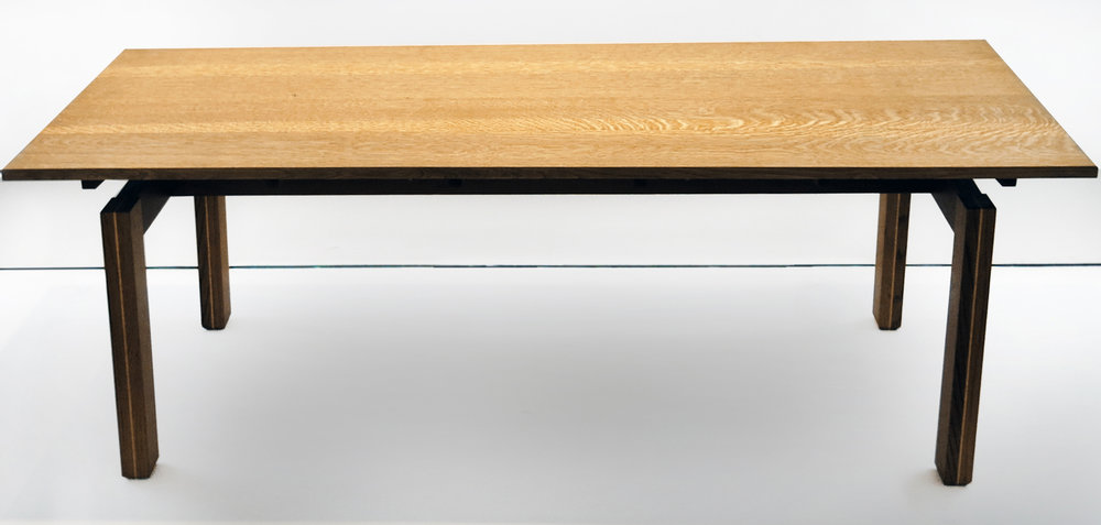 Edward Finnegan,  (Untitled) Table,  2000, white oak, holly, 30h x 84w x 30.25d in.