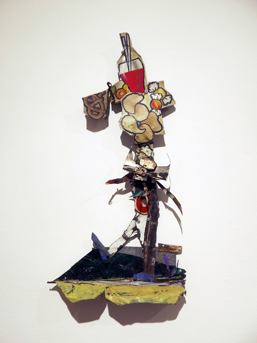 Matt Blackwell,  Buffalo Boy,  2014, sheet metal, caulk, wire, screws, paint, 26h x 14w x 3d in.