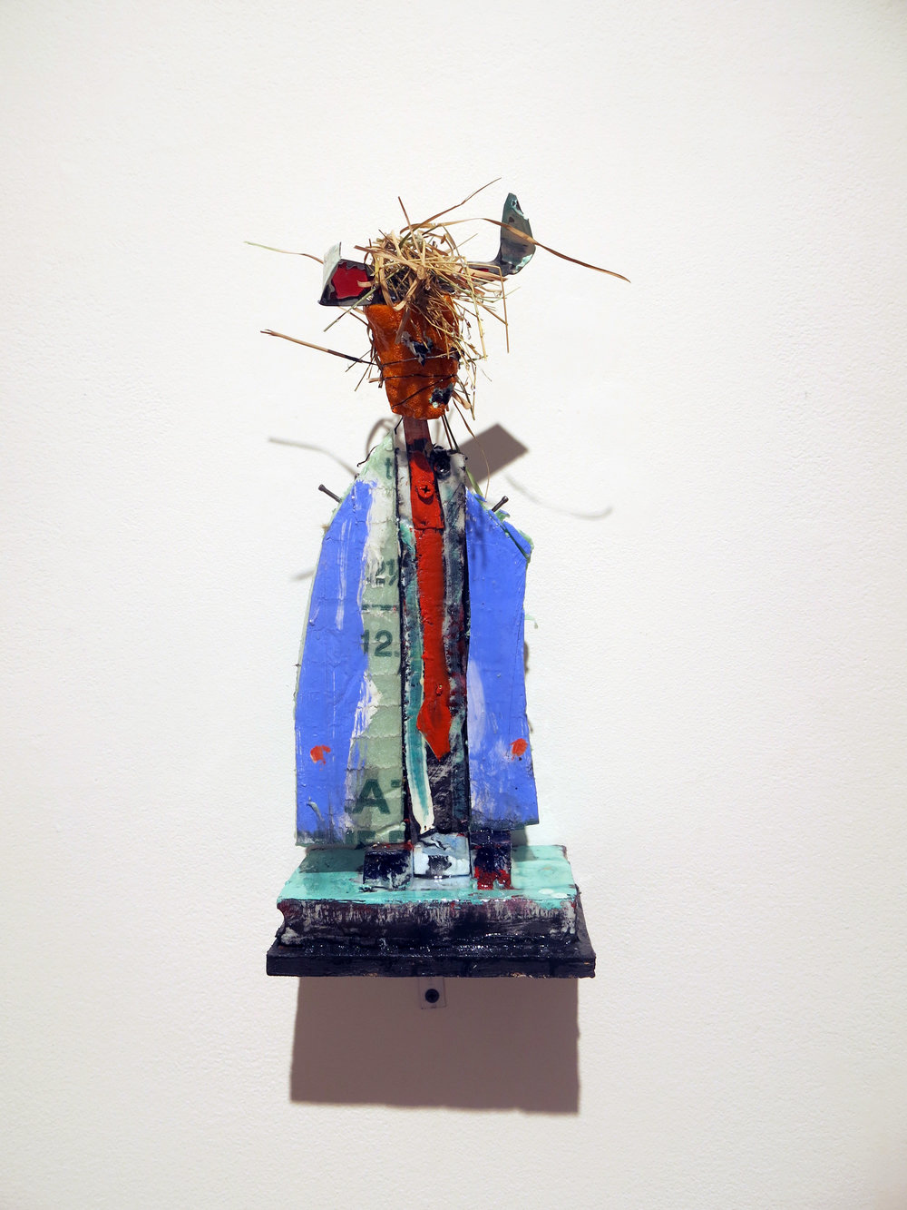 Matt Blackwell,  Effigy,  2017, styro metal, wood, paint, straw, 12h x 6w x 4d in.