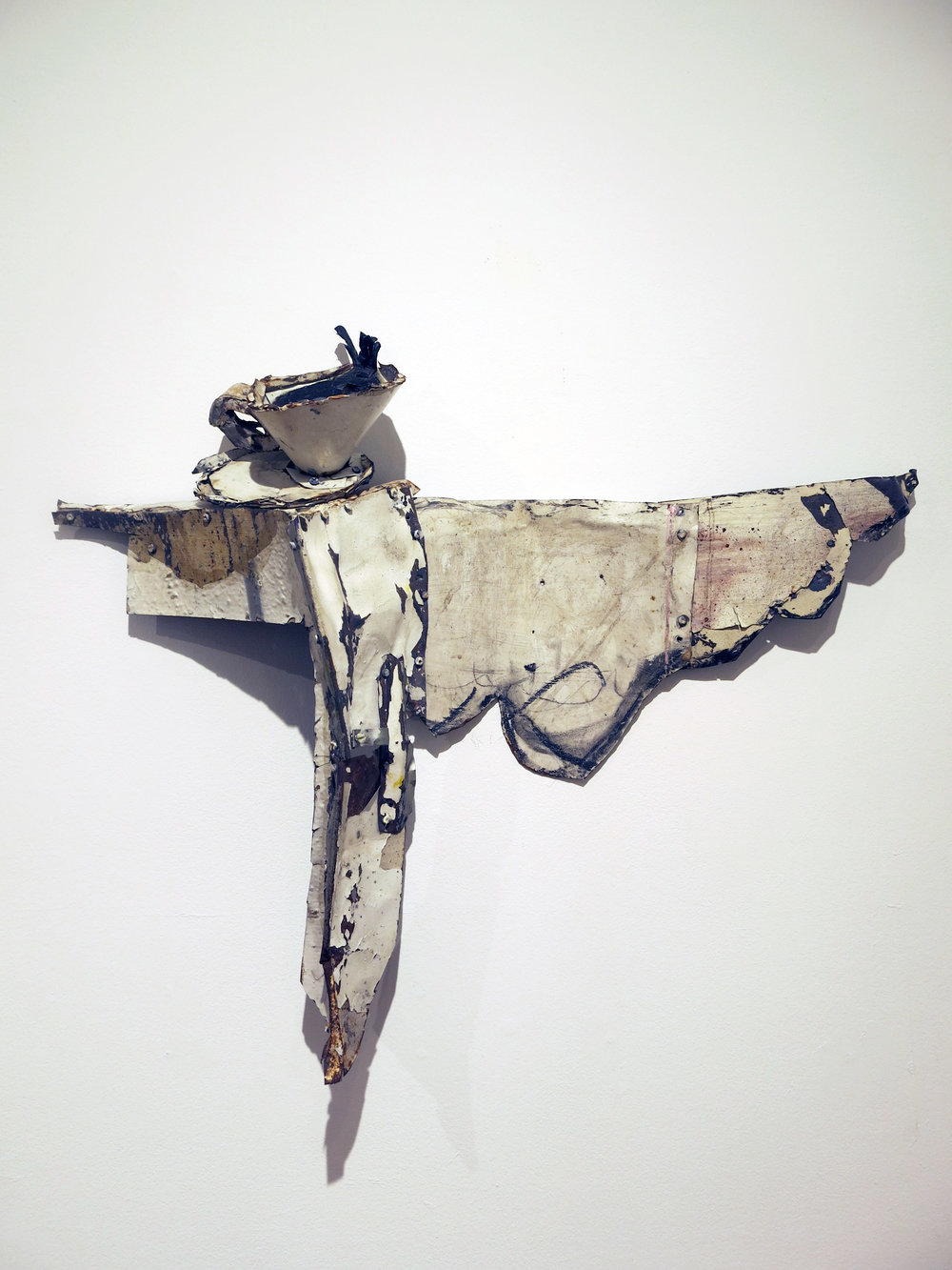 Matt Blackwell,  Coffee,  2015, sheet metal, rivets, caulk, 26h x 24w x 6d in.