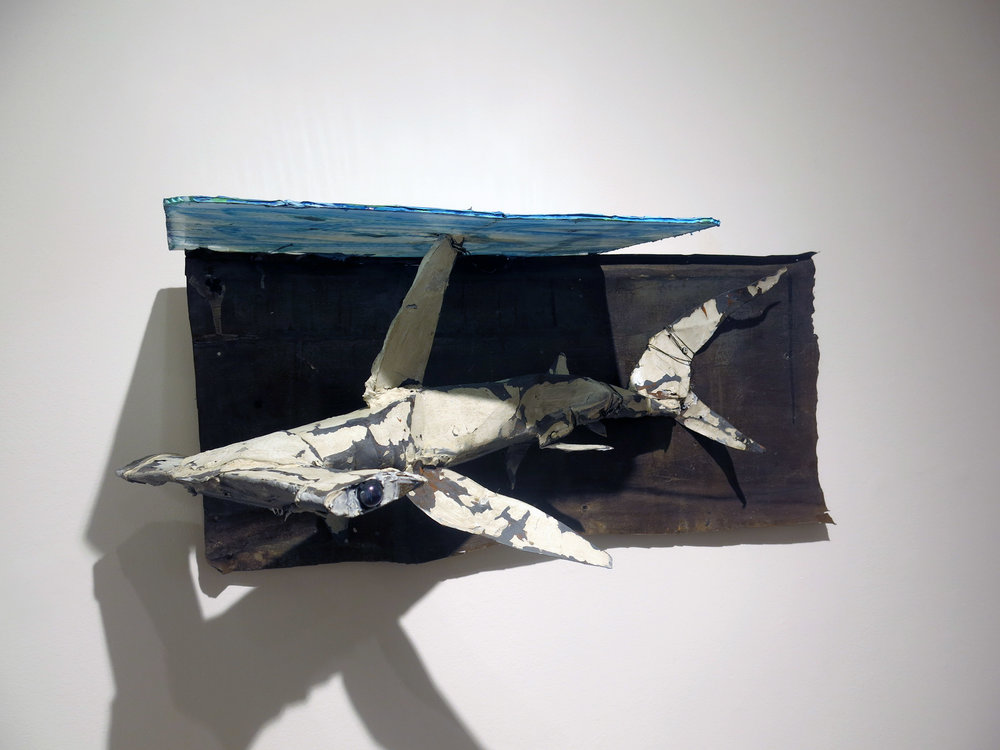 Matt Blackwell,  Below,  2013, sheet metal, glass, caulk, wire, paint, 14h x 6w x 4d in.