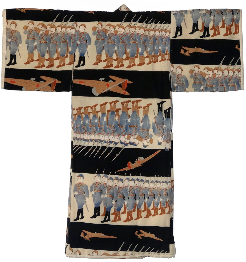 Troops in Formation,  Boy's Kimono, c. 1940, silk, 32.5h x 32.75w in.