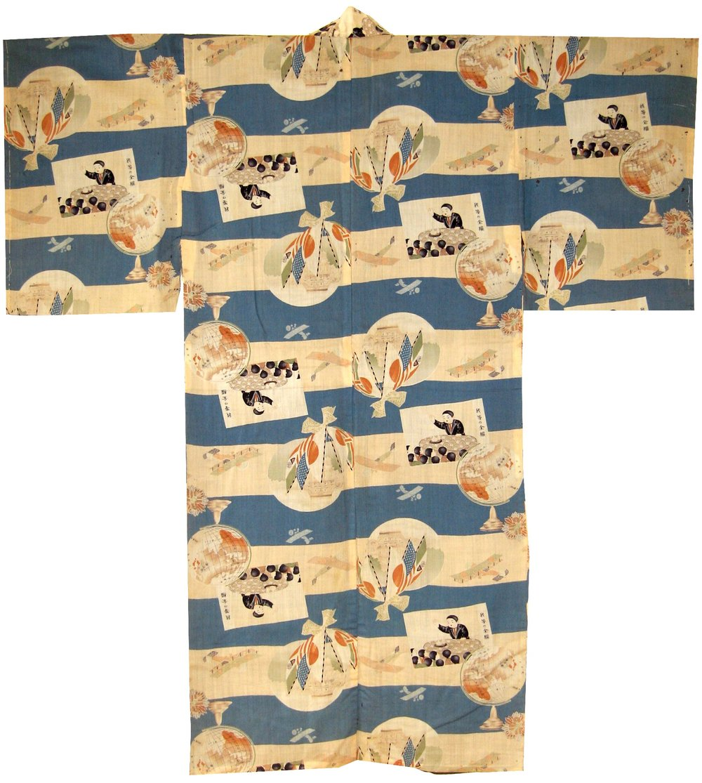 League of Nations,  Man's Nagajuban, c. 1933, wool, 51.5h x 48.75w in.