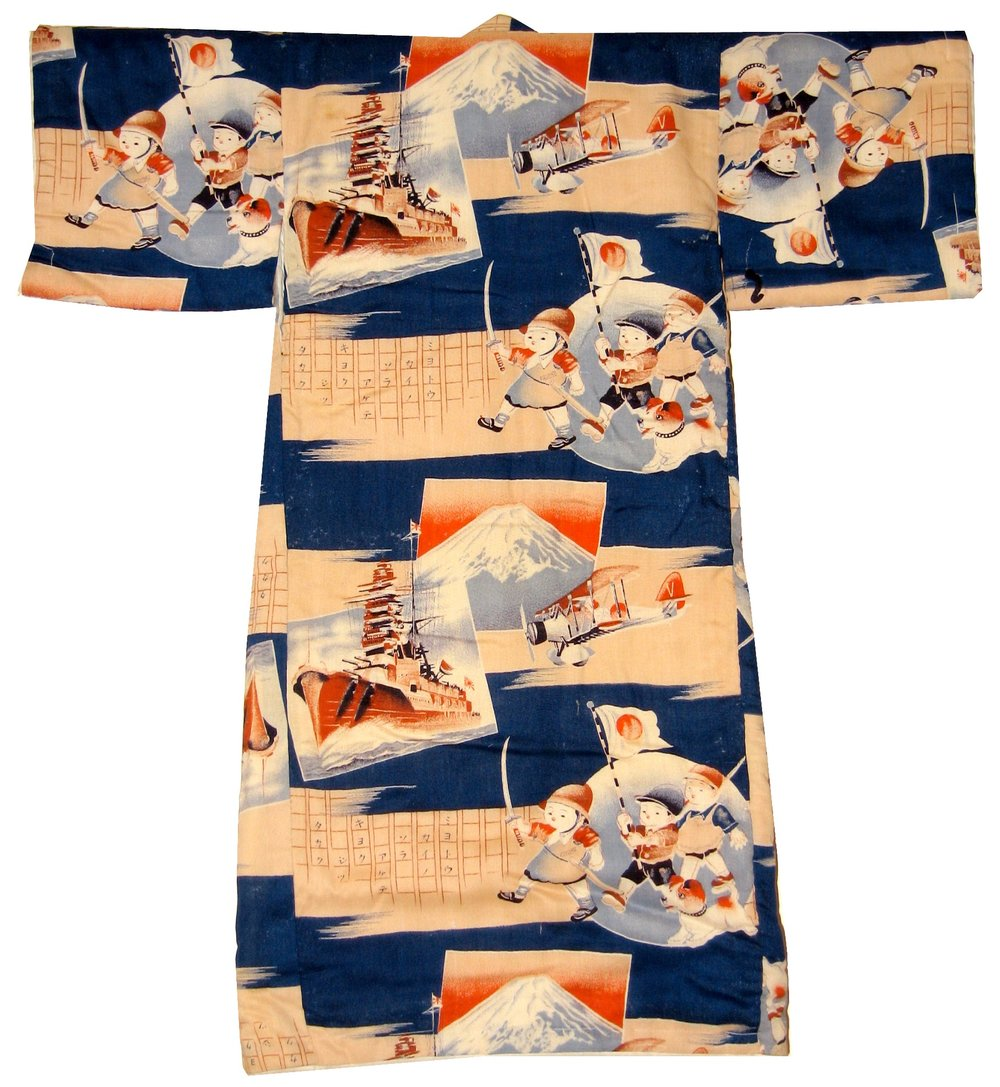 Marching Boys with Saber,  Boy's Kimono, c. 1937-1939, wool, 38h x 26w in.