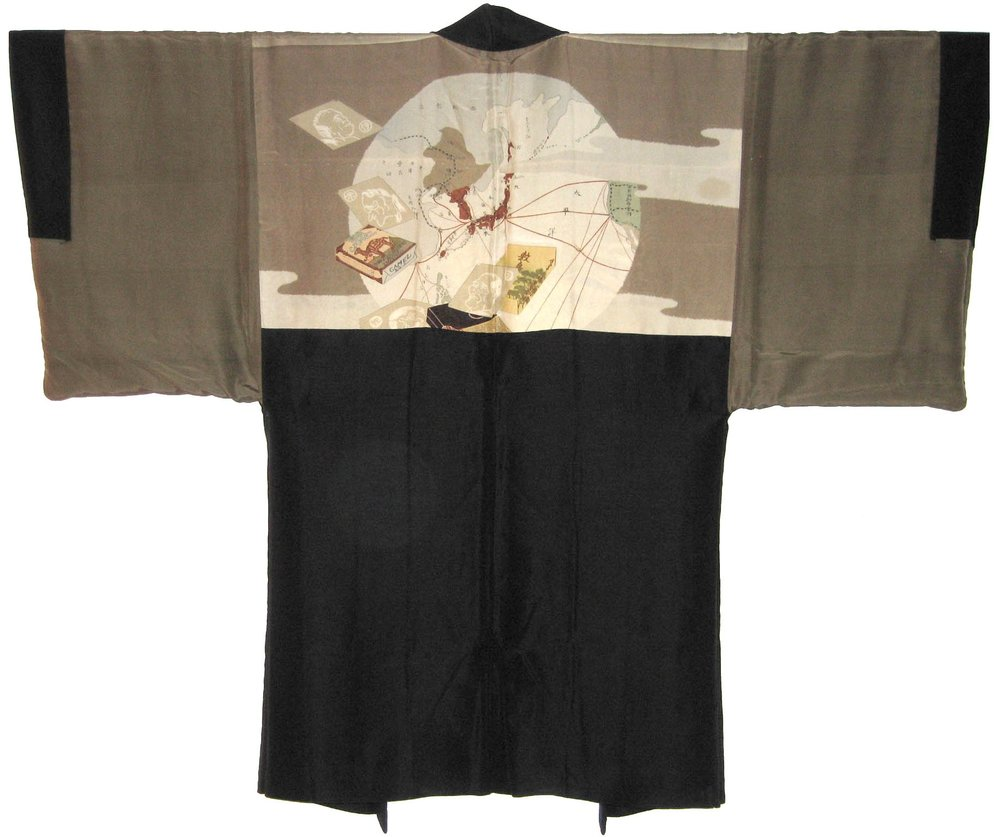 Camels and Hitler,  Man's Haori, c. 1935, silk, 38h x 50.5w in.