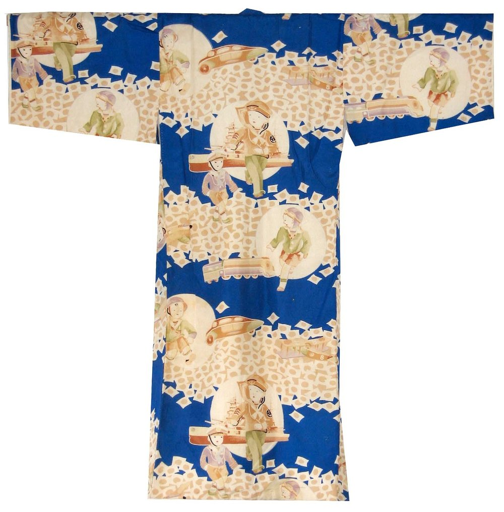 Streamline Car,  Boy's Kimono, c. 1934, silk, 32h x 33w in.