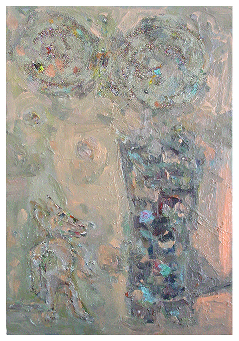 aves Light,  Farrell Brickhouse, 2014, oil, glitter, and silver pigment on canvas, 29.75h x 20w in.