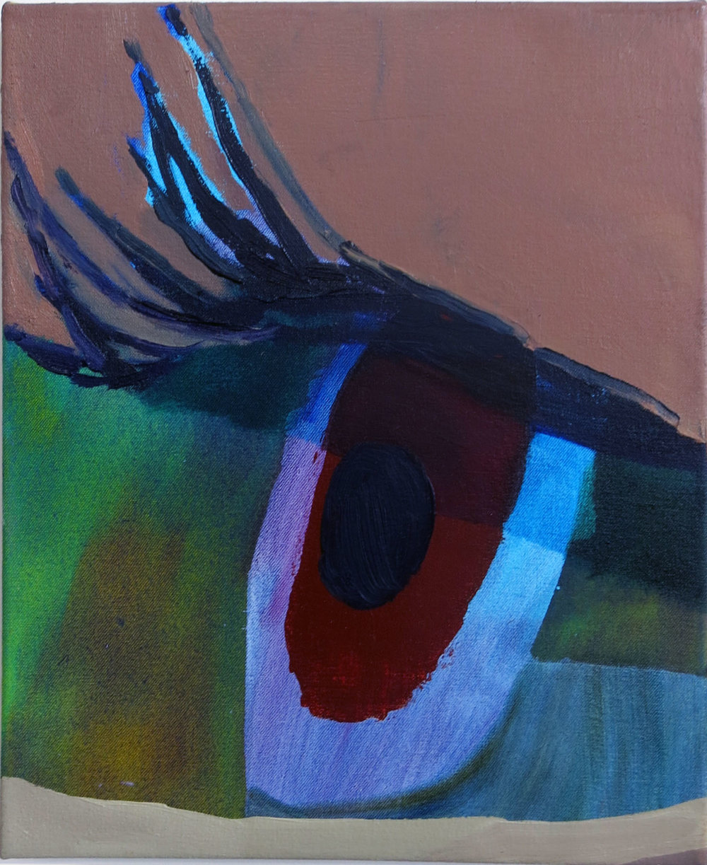Eye I,  Sarah Faux, 2015, oil on canvas, 15h x 12w in.