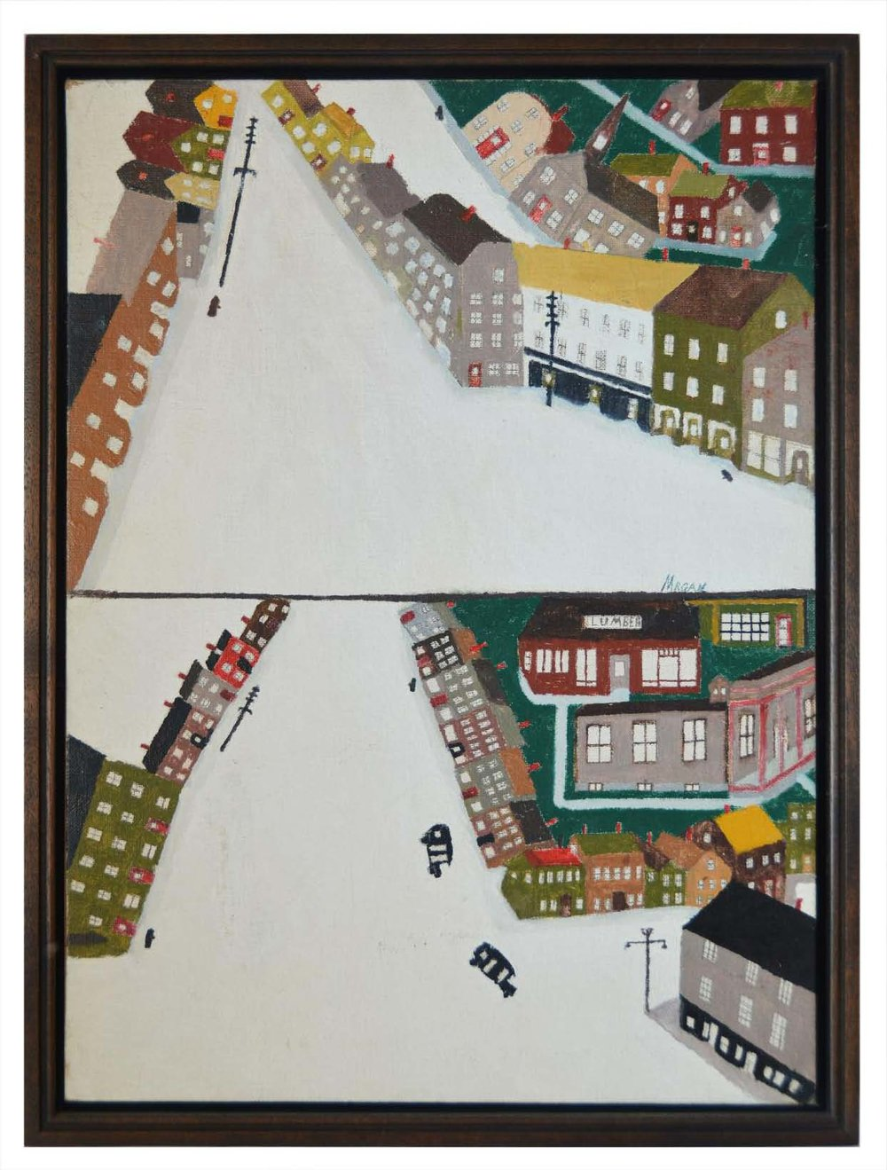 George E. Morgan,  Hallowell: View of Lover Water Street,  1963, oil on canvas board, 12h x 16w in.