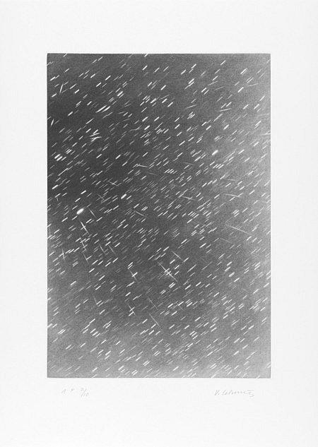 Vija Celmins, FALLING STARS, 2010, mezzotint etching on Magnani Pescia Satinato, 18.25h x 13.625w in.