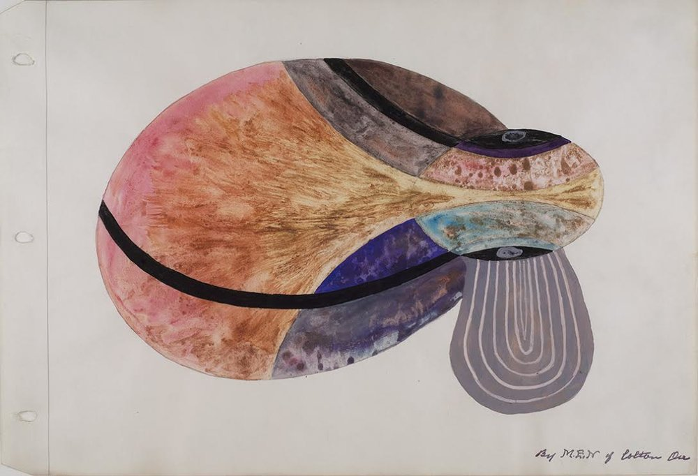 Melvin Edward Nelson,  Cosmic #2,  1961-1966, mineral pigment, watercolor on paper, 11h x 16.5w in.