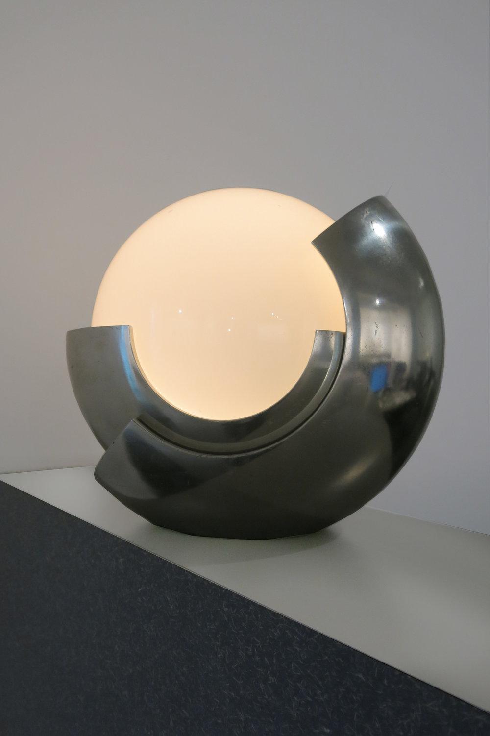 Maison Bagues, Moon Lamp (Globe), France, c. 1960s, steel chrome, pate de verre, 13.5h x 13.5w x 11d in.