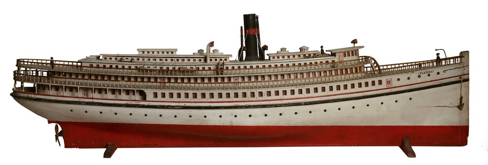 Anonymous,  Steamship Florida Model,  c. 1910, carved and painted wood and metal, 18h x 55w x 10d in.