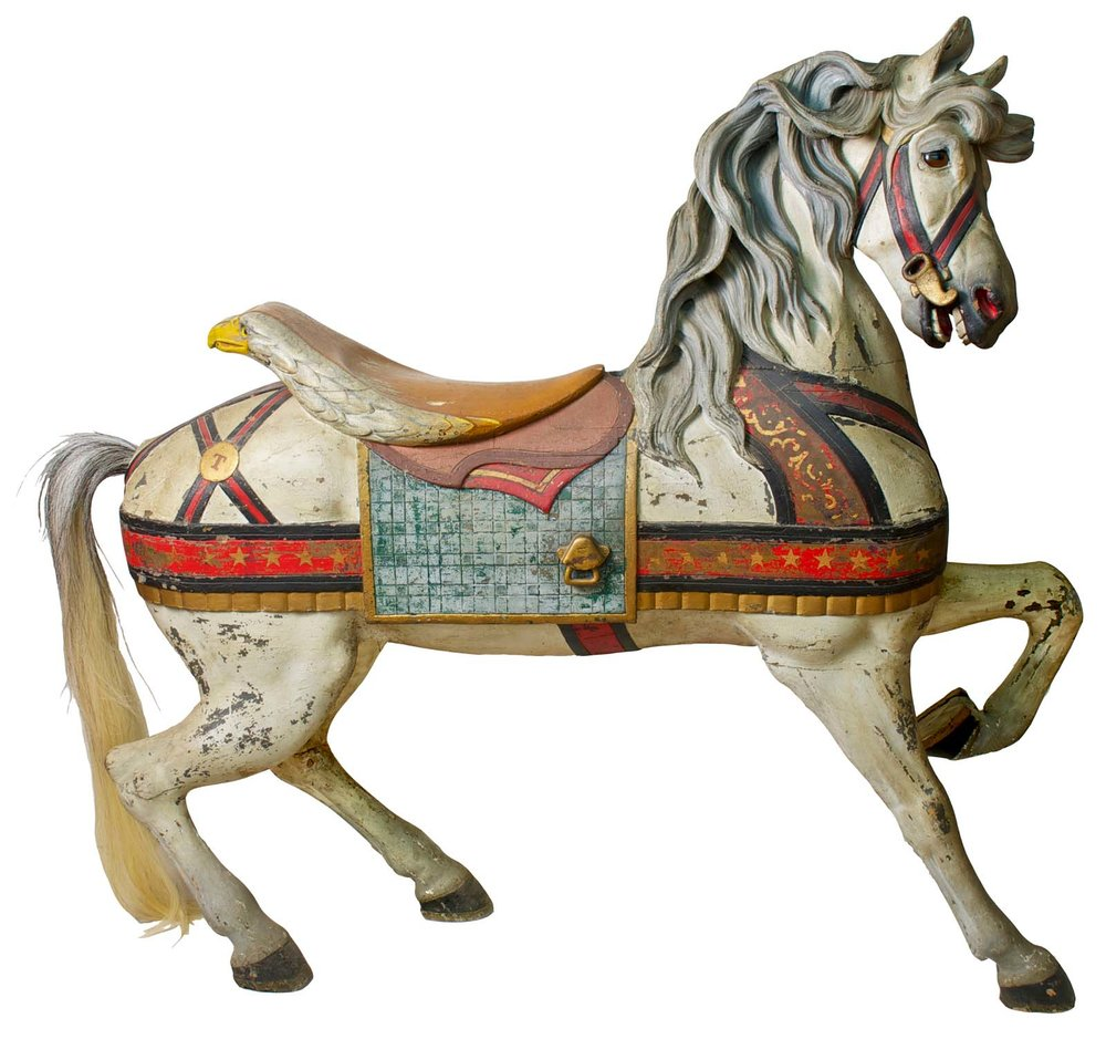 Gustav Dentzel,  Carousel Horse,  c. 1890, carved wood with an old in-use painted surface, 50h x 60w x 24w in.