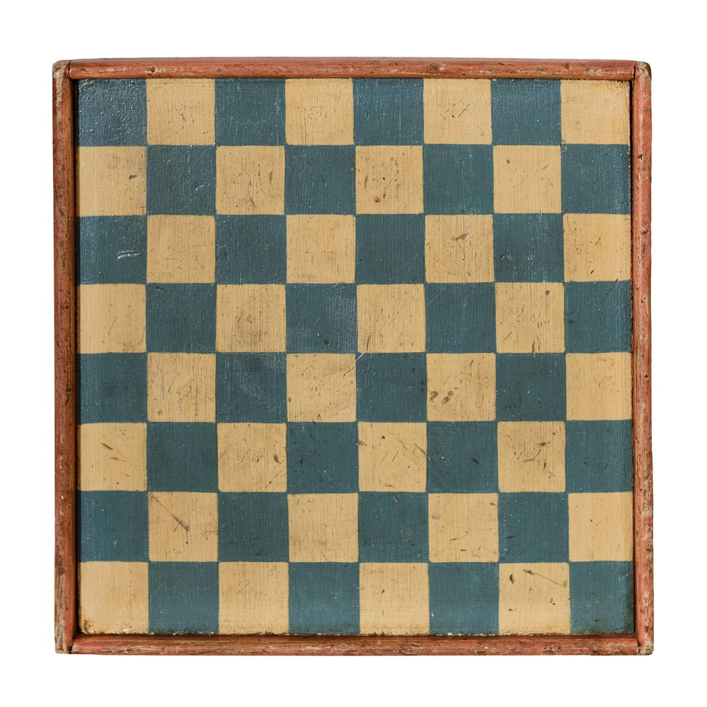 Anonymous, American,  Checkerboard,  c. 1910, original paint on wood, 11.5h x 11.5w in.