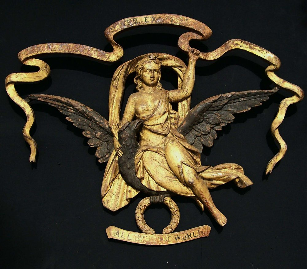 Anonymous, American,  Columbia With Eagle,  c. 1865, cast iron with early paint and gilding, 38h x 48w x 5d in.