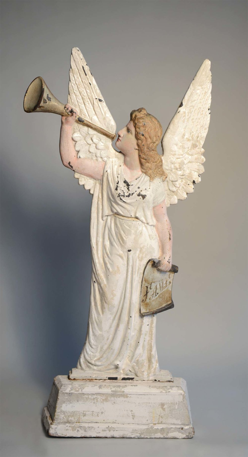 Anonymous, American,  Standing Figure of Fame,  c. 1875, cast iron with old paint, 40h x 30w x 4d in.