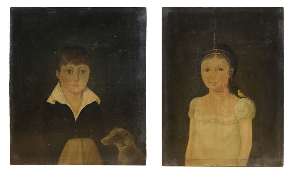 Anonymous, Marblehead, MA,  Pair Of Portraits,  c. 1810, paint on white pine panels, 1h x 11w, 13h x 10w in.