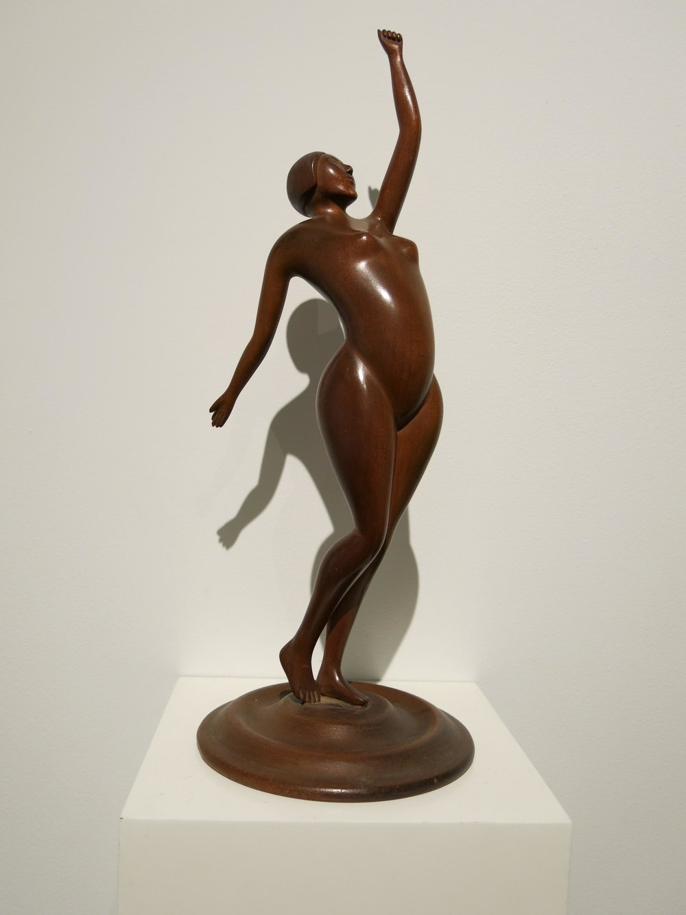 Anonymous, American,  Female Figure,  c. 1930, carved wood with original varnish, 14h x 5w x 5d in.