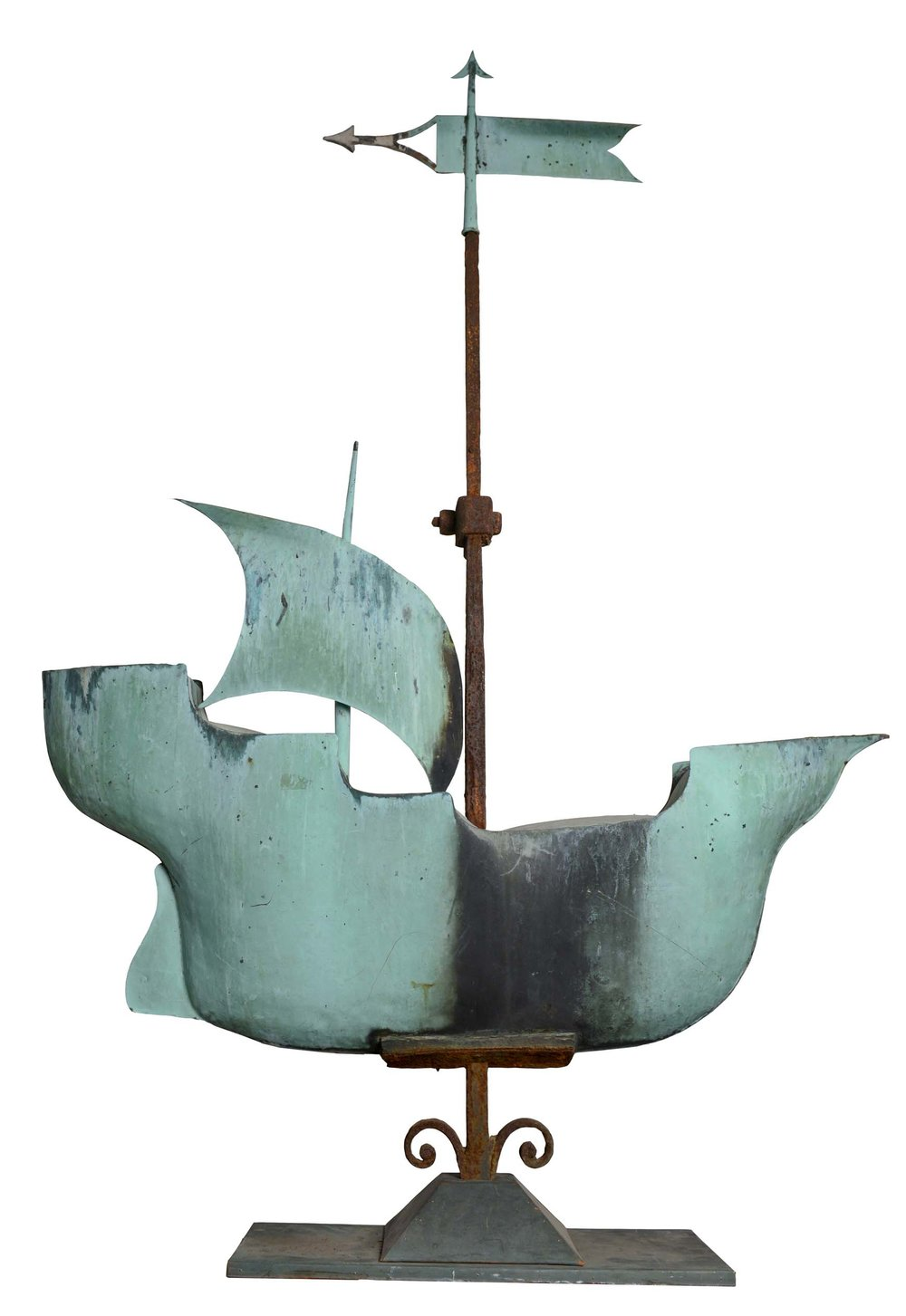 Anonymous, American,  Galleon Weathervane,  c. 1890, molded and sheet copper and wrought iron, 70h x 40w x 20d in.