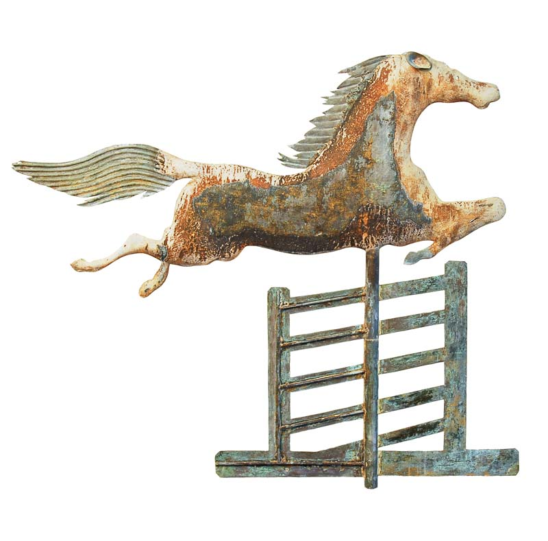 A.L. Jewell, manufacturer, Waltham, MA,  Steeple Chase Weathervane,  c. 1870, molded and sheet copper and lead, 36h x 30w x 2d in.