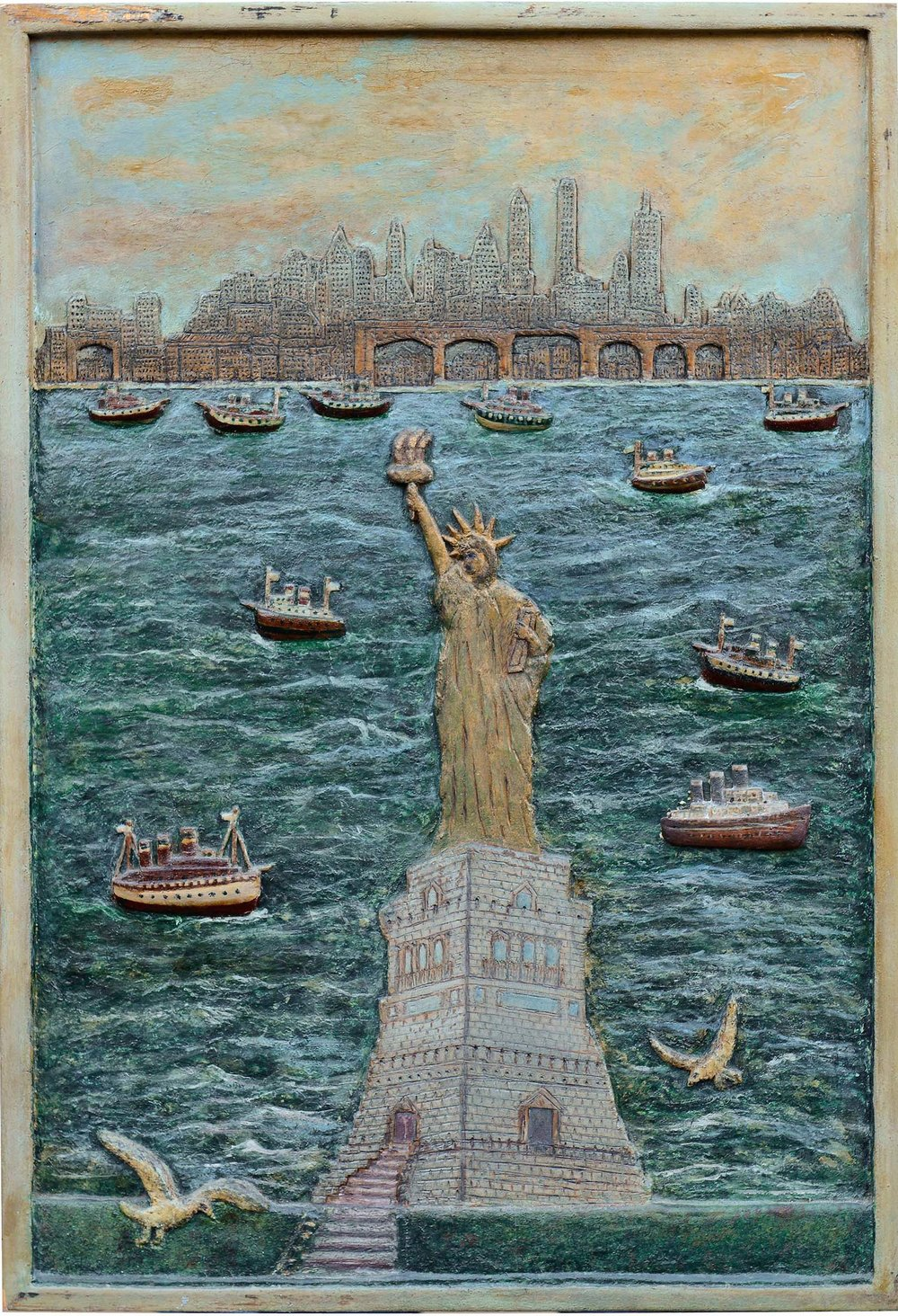 Harry Bloomindale,  Land of Liberty,  c. 1933, carved wood with original paint, 16h x 12w x 1d in.