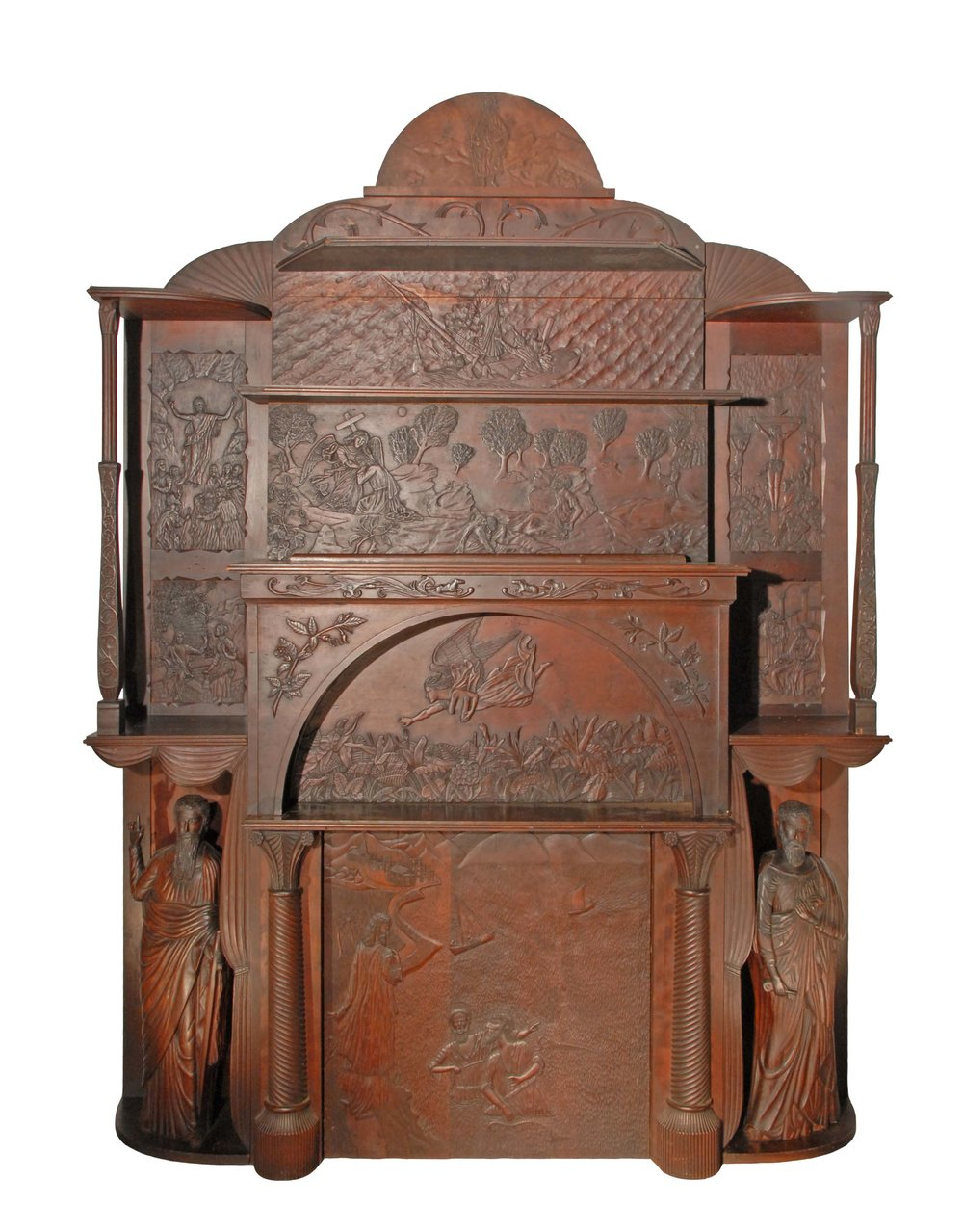 J. Paul Bateman, Bridgeton, NJ,  Mantle Surround,  c. 1890, carved cherry wood, 80h x 70w x 30d in.