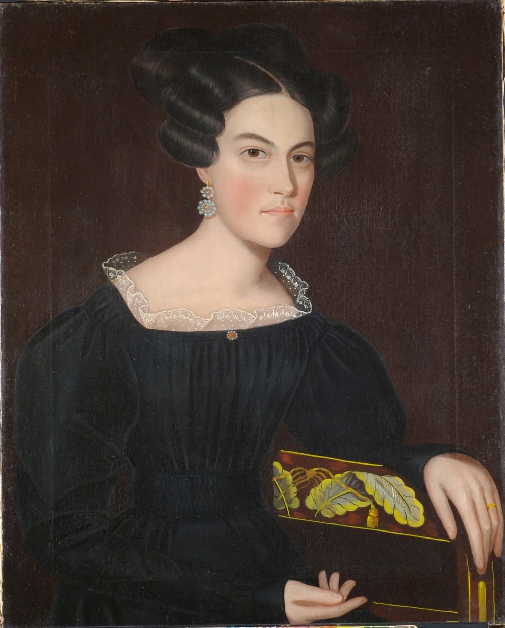Ammi Phillips,  Portrait Of A Lady,  c. 1835, oil on canvas, 38h x 30w x 4d in.