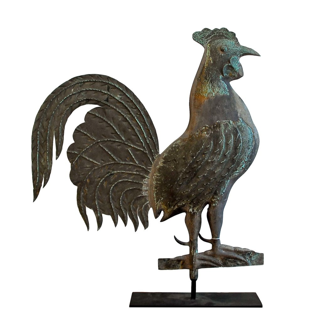 A.L. Jewell, Waltham, MA,  Rooster Weathervane,  c. 1870, molded and sheet copper and lead, 28h x 22w x 4d in.